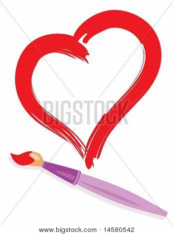 Paintbrush And Painted Heart