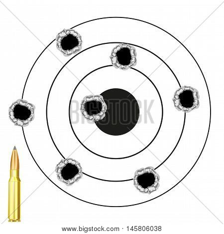 The Round dartboard with hole from pool and patron.Vector illustration