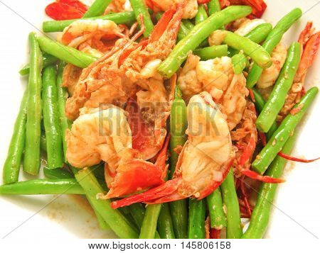 Fried shrimp with lentils Thai cooking menu in restaurant