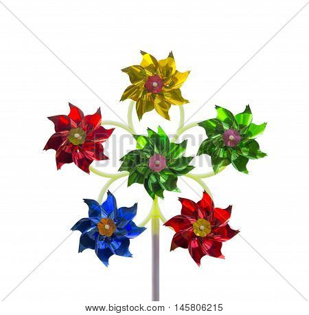 Children's toy pinwheel on a white background