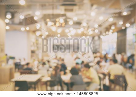 Blurred Background Restaurant With Lot Of Bokeh In Vintage Style Effect