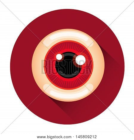 Scary Zombie Eye Halloween Holiday Icon Flat Vector Illustration