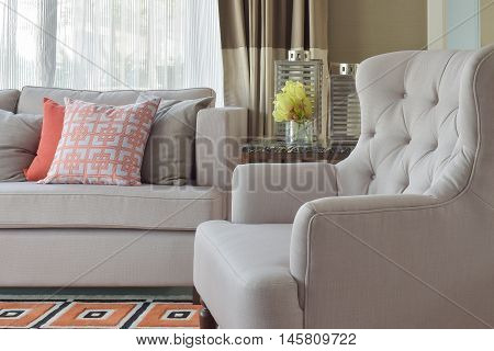 Comfy Beige Arm Char With Chinese Style In Orange Theme Living Corner