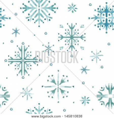Seamless pattern with snowflake. Watercolor snowflake background. Winter holidays background
