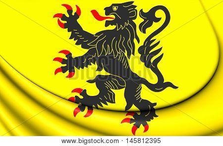 Flag of Nord-Pas-de-Calais France. 3D Illustration. Close Up.