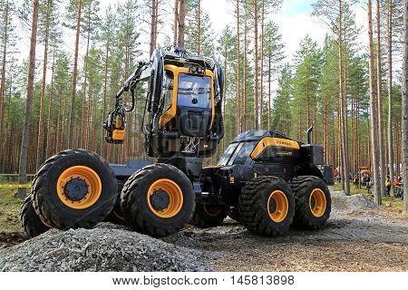 JAMSA FINLAND - SEPTEMBER 1 2016: Ponsse presents harvester Scorpion King in a work demonstration on the heavy machinery exhibition FinnMETKO 2016 in Jamsa Finland.