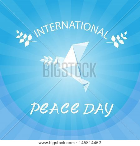 World Peace Day Poster White Origami Dove Bird Flat Vector Illustration