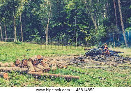 Rustic bonfire near the forest vintage photo.