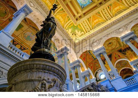 WASHINGTON D.C, USA - AUGUST12,2016 : Interior of the Library of Congress in Washington D.C.