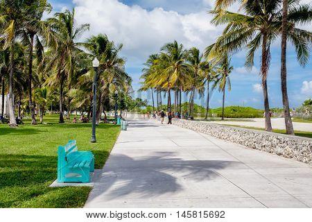 MIAMI BEACH, USA - AUGUST 27, 2016 : Beautiful summer day at South Beach in Miami