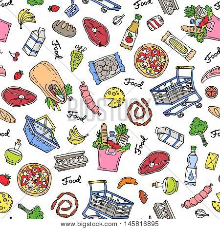 Vector seamless hand drawn pattern. Pattern on the theme of food - dairy products beverages vegetables fruits meat products sausages bread pizza. Background for use in design