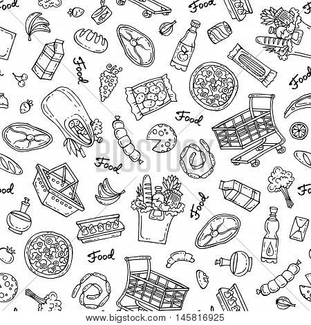 Vector seamless hand drawn pattern on white color. Pattern on the theme of food - dairy products beverages vegetables fruits meat products sausages bread pizza. Background for use in design