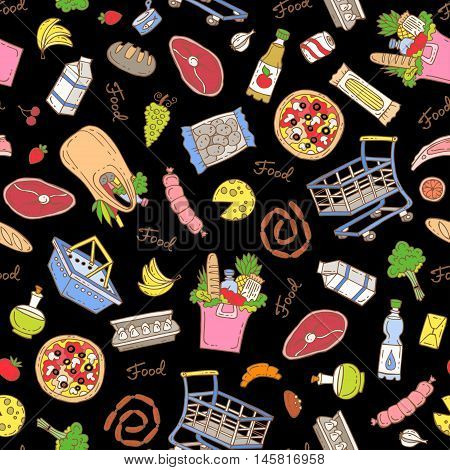 Vector seamless pattern on black color. Hand drawn pattern on the theme of food - dairy products beverages vegetables fruits meat products sausages bread pizza. Background for use in design