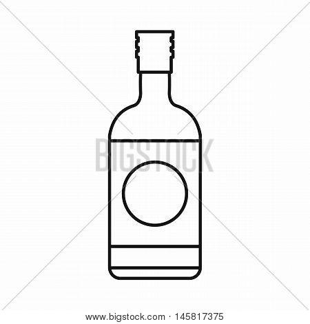 Japanese liquor sake bottle icon in outline style isolated on white background vector illustration
