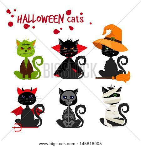 Halloween black cat fashion costume outfits. Dead cat skeleton and mummy pussy cat , zombie kitty and vampire cat vector illustration isolated on white