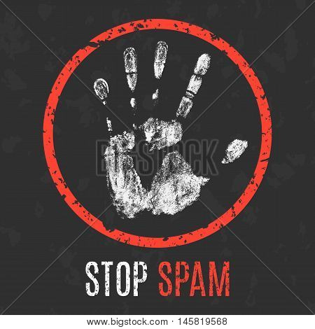 Conceptual vector illustration. Social problems of humanity. Stop spam sign.