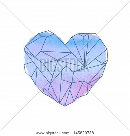 Watercolor Mineral Heart-shaped Crystal On White Background