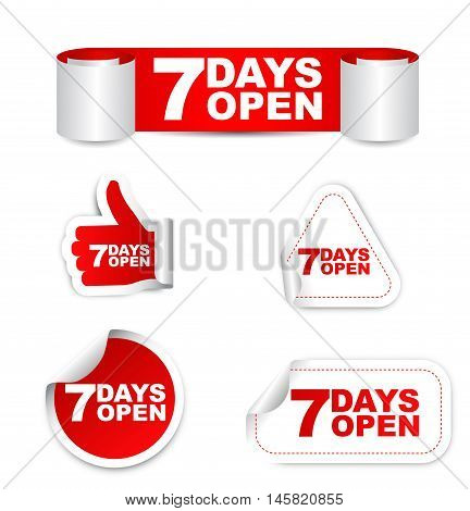 This is red set vector paper stickers 7 days open