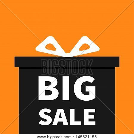 Gift box with ribbon and bow. Present giftbox. Big sale halloween advertising banner poster. Special offer. Orange background. Isolated. Flat design. Vector illustration