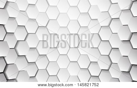 White tile of honeycomb shape plates background. White glittering pailettes hexagon texture. Semi spherical tiling luxury fashion background. Snake skin scales interior texture.
