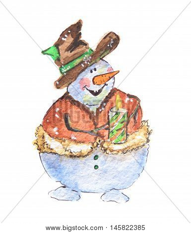 Isolated watercolor snowman. Funny and smiling snowman with candle on white background. Symbol of Christmas and New Year.