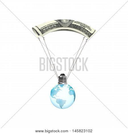 Light Bulb Of Globe Shape With Money Parachute