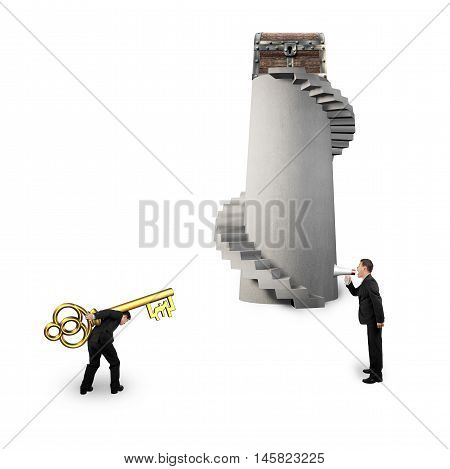 Man Shouting Other Carrying Pound Symbol Key With Treasure Chest