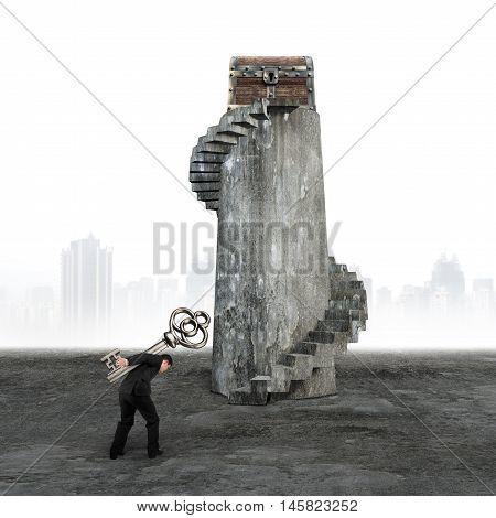 Man Carrying Key Toward Treasure Chest