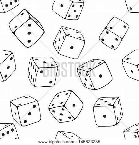 Vector Seamless Pattern Background Of Lineart Dices