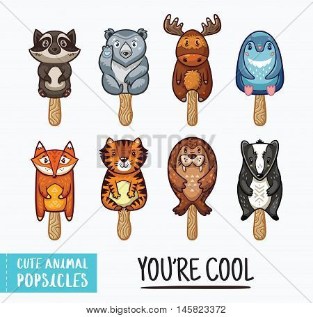 Set of ice cream on a stick with cartoon animals. Cute animal popsicles collection. You are cool text