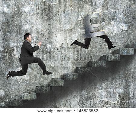 Man Running After Pound Money Symbol