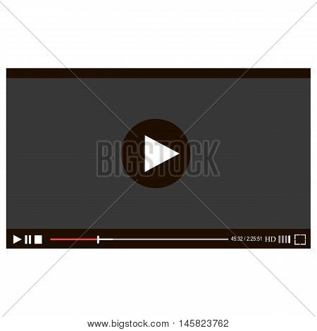 Video player for web, vector illustration. Flat clean video player for web and mobile apps