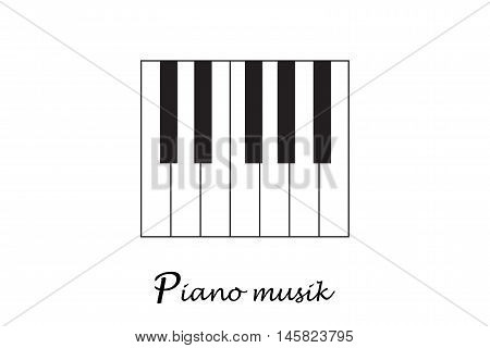Piano. Space piano keys. Jazz music festival, poster background template. Music piano keyboard. Can be used as poster element or icon. Vector illustration.