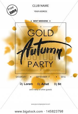 Autumn Party typography template for placard, flayer, voucher, invitation,presentation, brochure with place for text. Black text on red blurred background.
