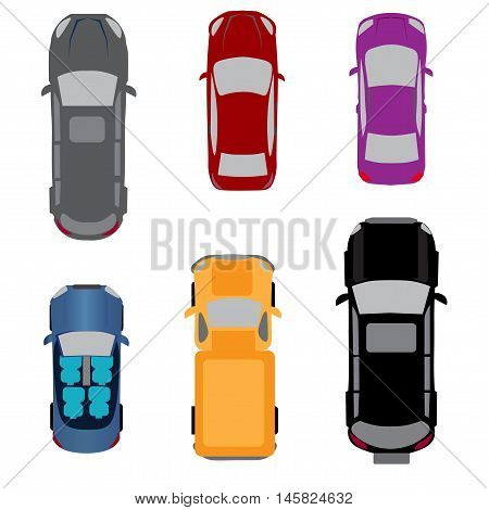 Set of six vehicles. Coupe, convertible, sedan, wagon, SUV, passenger van View from above Vector illustration