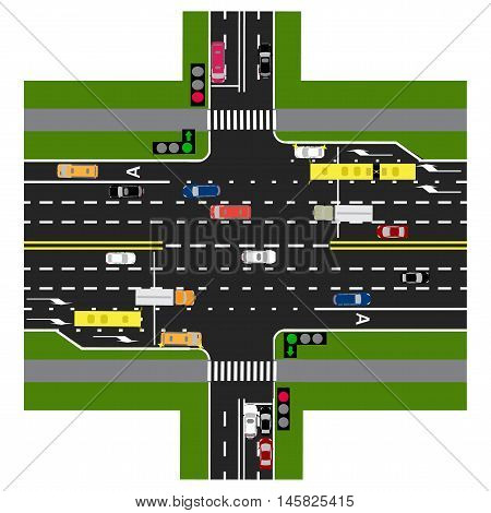 Road infographics. The highway intersects with the road. With the cars and traffic lights. Green signal to the main road. Loaded with road maps and public transport. Top view of the highway. Vector illustration