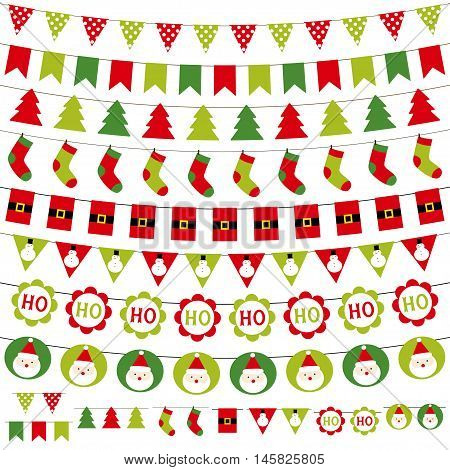 Christmas isolated garlands, bunting and decoration set