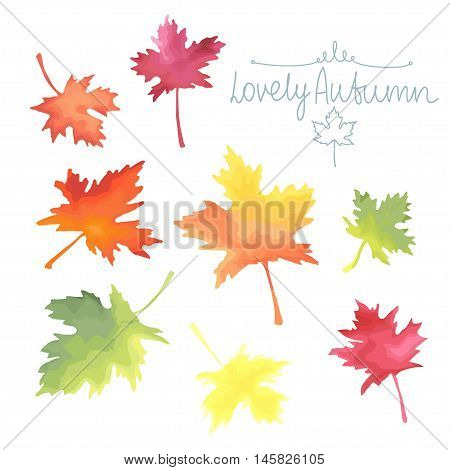 Autumn maple leaves isolated on white background. Watercolor imitation in vector. Each object is separately, easy to edit.