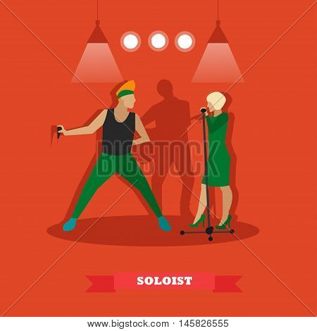 Singer couple sing a song on a stage. Vector illustration in flat style design.