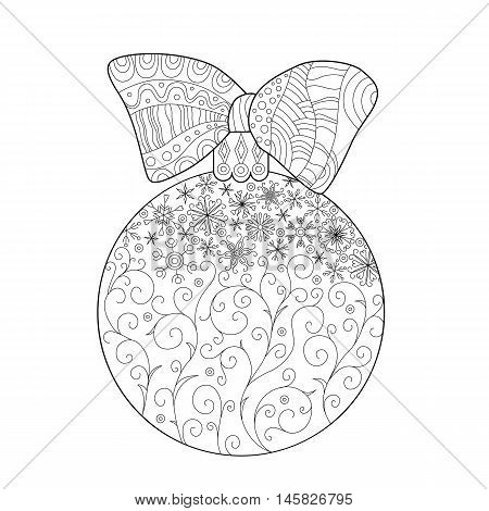 Coloring for adults Christmas ball on fir branch zentangle design for coloring book for adult Anti stress Coloring Page.