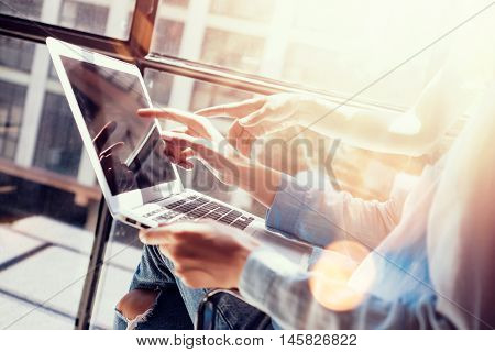 Womans Coworkers Making Great Business Decisions.Young Marketing Team Discussion Corporate Work Concept Office Laptop.New Startup Creative Idea Presentation.Girls Working Modern Notebook.Flare Blurred