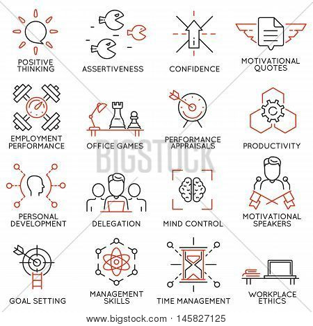 Vector set of 16 linear thin icons related to striving for success leadership development career progress and personal training. Mono line pictograms and infographics design elements - part 7