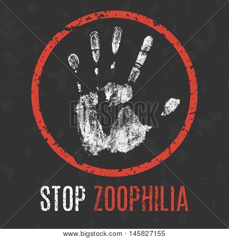 Conceptual vector illustration. Human diseases. Stop zoophilia.