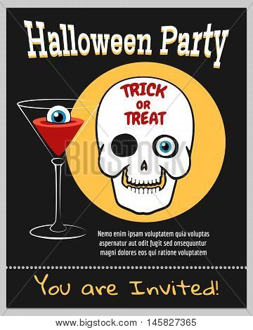 Halloween zombie party invitation with laughing skull vector illustration