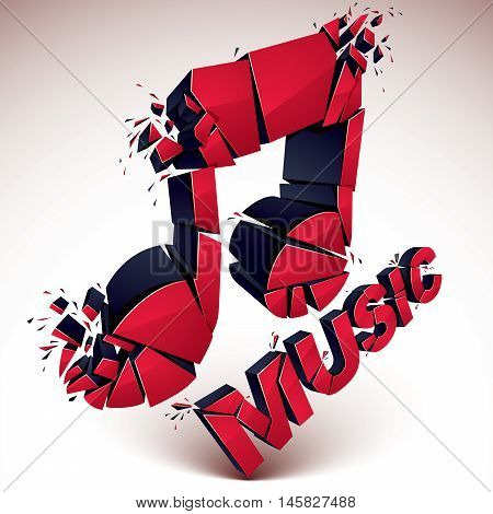 3d vector red shattered musical notes with music word. Art melody transform symbol broken into pieces.