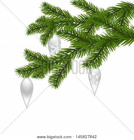 Two green, realistic spruce branches. Christmas Spruce branches with ornaments. Isolated on white background