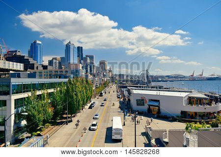 SEATTLE, WA - AUG 14: Downtown waterfront view on August 14, 2015 in Seattle. Seattle is the largest city in both the State of Washington and the Pacific Northwest region of North America
