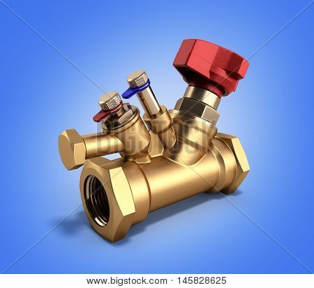 Balancing Valve With Drain For Plumbing 3D Rendering On A Gradient Background