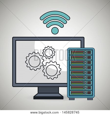 computer pc gear wifi vector illustration eps10