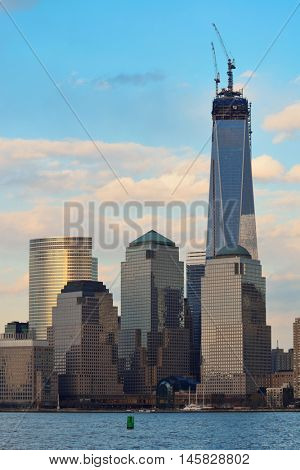 NEW YORK CITY - MARCH 20: One World Trade Center (Freedom Tower) at sunset on March 20, 2013 in New York City. It is the tallest building in New York City with 1,776 feet height since 2012.